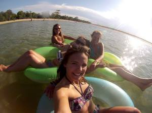 Tubing in the lazy river