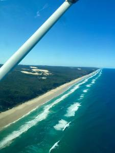 The view of 75 mile beach from the plane